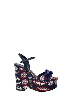 Tory Burch Wedges Damen Stoff Blau