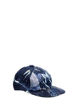 MSGM Hats Men Cotton Blue