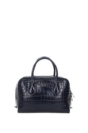 Prada Handbags Women Leather Crocodile Blue
