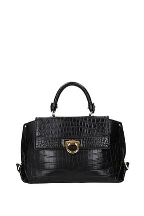 Salvatore Ferragamo Handbags sofia Women Leather Crocodile Black