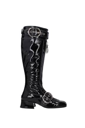 Miu Miu Boots Women Patent Leather Black