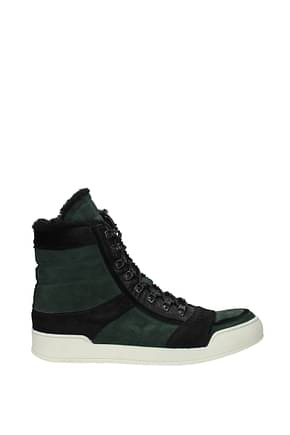 Balmain Sneakers Men Suede Green