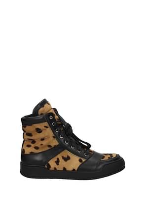 Balmain Sneakers Men Pony Skin Brown