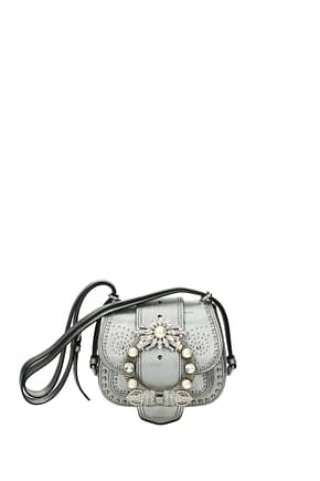 Miu Miu Shoulder bags Women Leather Silver