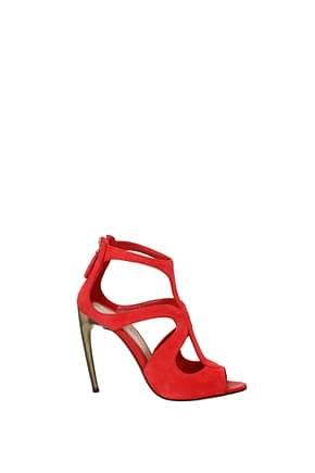 Alexander McQueen Sandals Women Suede Red