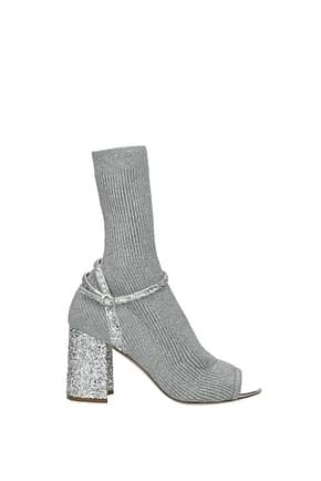 Miu Miu Ankle boots Women Fabric  Silver
