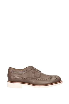 Tod's Lace up and Monkstrap Men Leather Gray