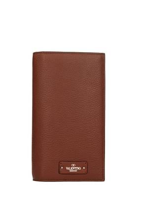 Valentino Garavani Wallets Men Leather Brown