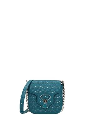 Bulgari Crossbody Bag Women Leather Blue