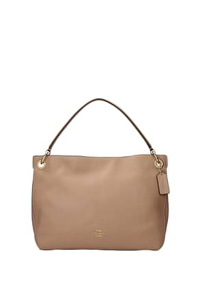 Coach Handbags Women Leather Beige