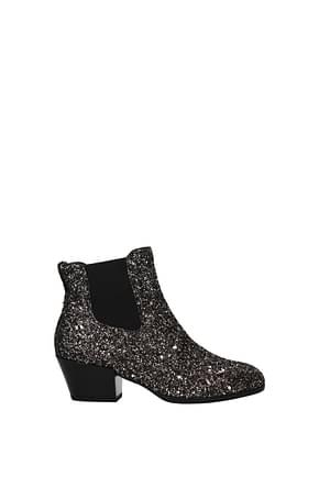 Hogan Ankle boots Women Glitter Gold