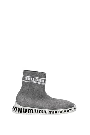 Miu Miu Sneakers Mujer Tejido Plata