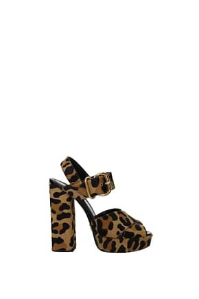 Prada Sandals Women Pony Skin Brown