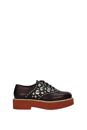 Miu Miu Lace up and Monkstrap Women Leather Red