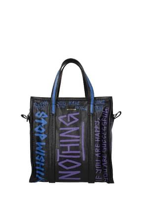 Balenciaga Handbags bazar graffiti Women Leather Black