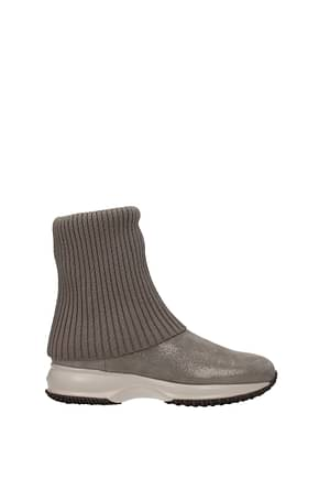 Hogan Ankle boots Women Fabric  Gray