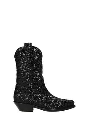 Dolce&Gabbana Stiefel gaucho Damen Pailletten Schwarz