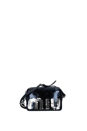 Miu Miu Crossbody Bag Women Sequins Blue