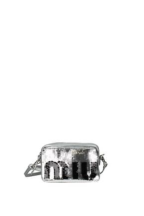 Miu Miu Crossbody Bag Women Sequins Silver