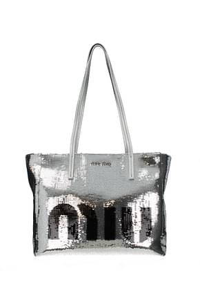 Miu Miu Shoulder bags Women Sequins Silver