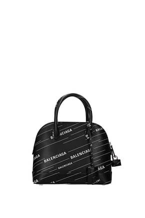 Balenciaga Handbags Women Leather Black White