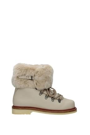 Loro Piana Ankle boots Women Leather Beige
