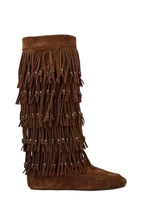 Saint Laurent Boots Women Suede Brown