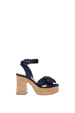 Miu Miu Sandals Women Satin Blue