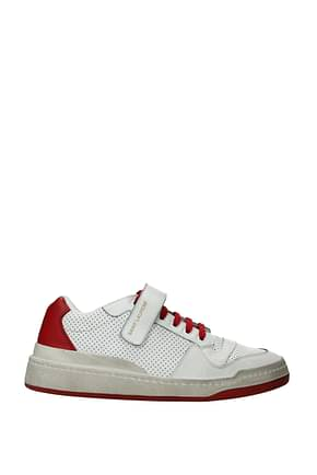 Saint Laurent Sneakers Men Leather White Red