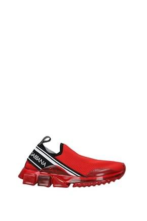 Dolce&Gabbana Sneakers Uomo Tessuto Rosso