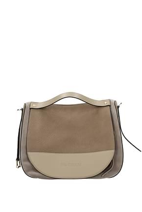 Jw Anderson Handbags Women Suede Gray Beige