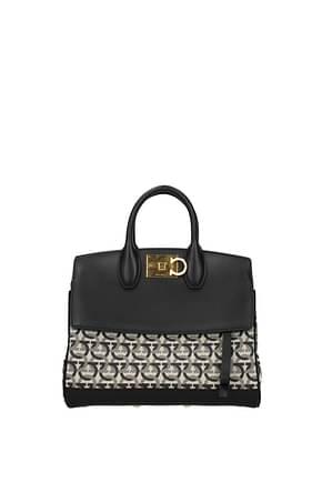 Salvatore Ferragamo Handbags Women Leather Beige Black