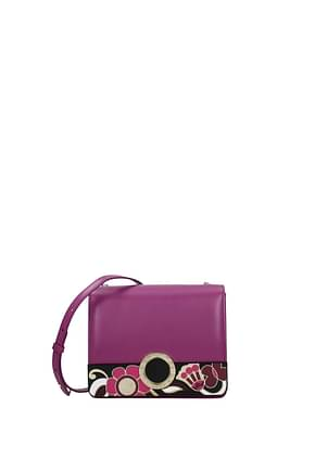 Bulgari Crossbody Bag Women Leather Violet