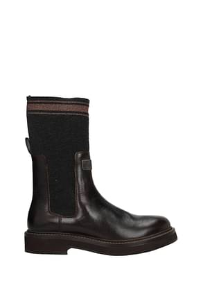 Brunello Cucinelli Bottines Femme Cuir Marron