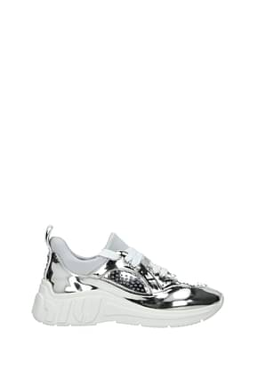 Miu Miu Sneakers Women Leather Silver