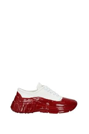 Miu Miu Sneakers Donna Tessuto Bianco Rosso