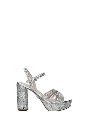 Miu Miu Sandals Women Sequins Silver