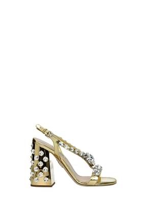 Miu Miu Sandals Women Leather Gold