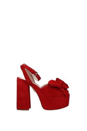 Miu Miu Sandals Women Suede Red