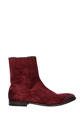Alexander McQueen Ankle Boot Men Suede Red