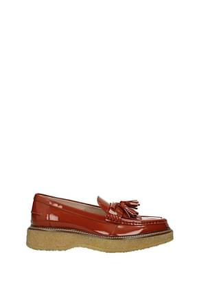 Tod's Loafers Women Patent Leather Brown