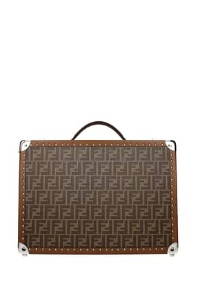 Fendi Suitcases Men Fabric  Brown