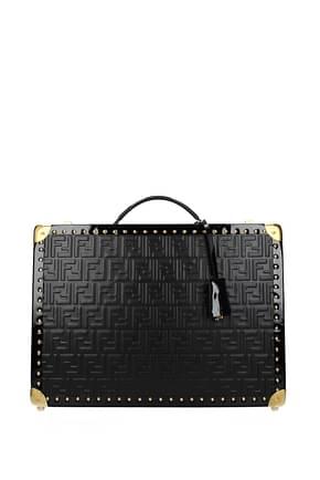 Fendi Suitcases Men Leather Black