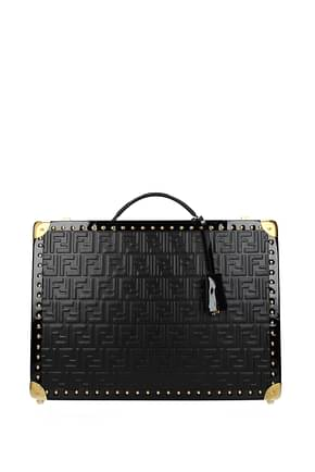 Fendi Suitcases Men Leather Black