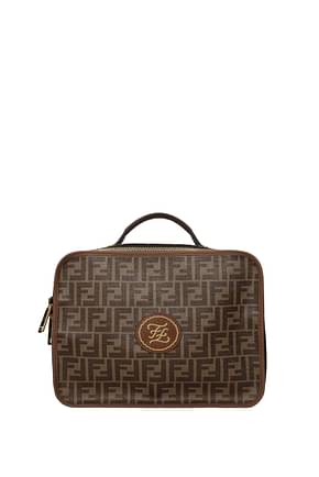 Fendi Suitcases Men Leather Brown
