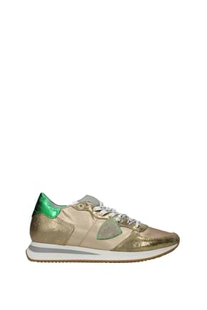 Philippe Model Sneakers trpx Women Leather Gold Green