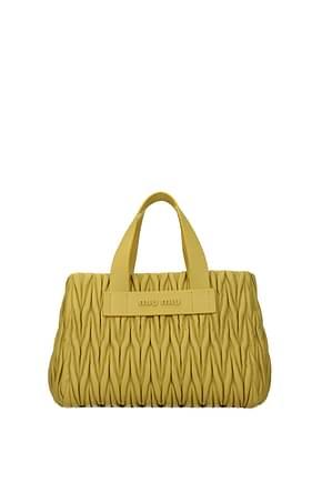 Miu Miu Handbags Women Leather Yellow Gorse