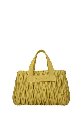 Miu Miu Handbags Women Leather Yellow Gorse