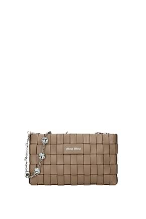 Miu Miu Clutches Women Leather Beige Cameo