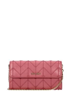 Miu Miu Wallets Women Leather Pink Geranium